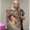 Mary Opat with painting Rose Rising
