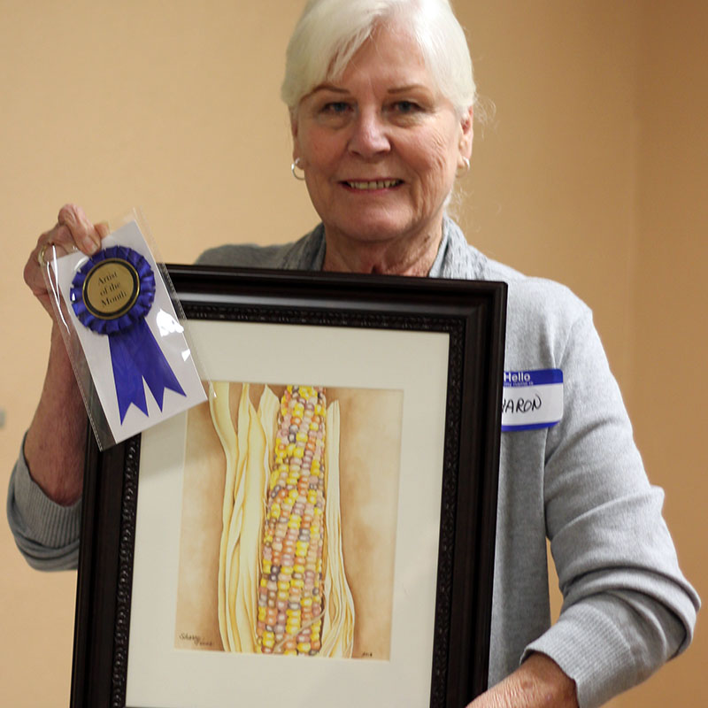 Congratulations to Sharon Hess! She was chosen GVAL's March Artist of the Month. Her watercolor piece is titled