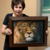 """Congratulations to Carol Weale! She was selected GVAL's March Artist of the Month for her oil painting of a magnificent lion!"""